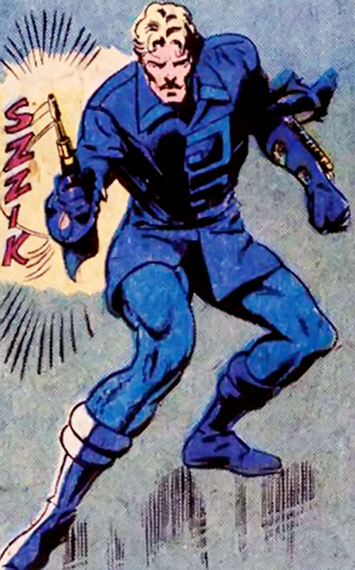 Donovan Flint of the Star Hunters (DC Comics) in a blue uniform, drawing his gun