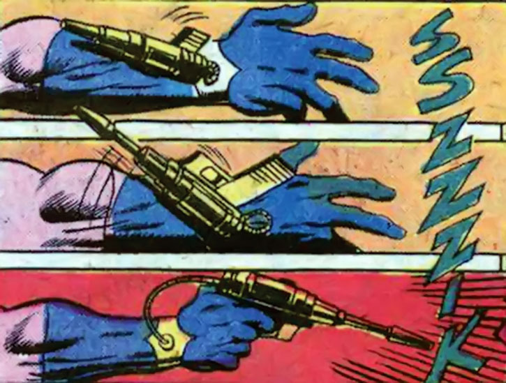 Donovan Flint deploys his handgun