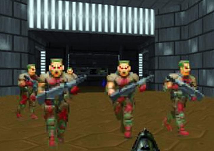 Zombie horde in the Doom video game