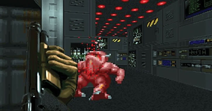 Demon killed with a shotgun in the Doom video game