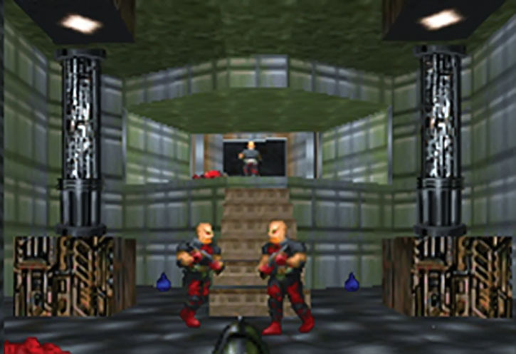 Armed zombies in the Doom video game