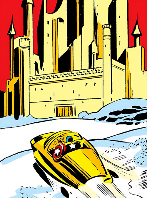 The Dovecote fortress (Marvel Comics) approached by Captain America