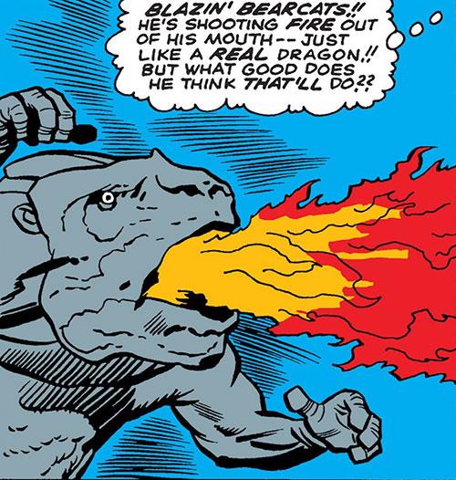 Dragon Man belching fire