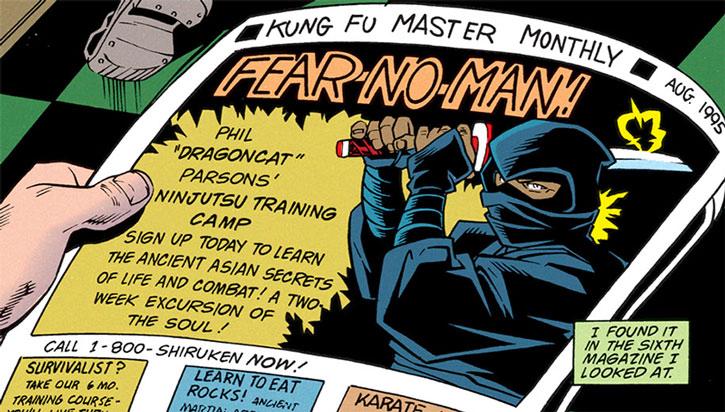 Magazine advert for Dragoncat's ninja camp