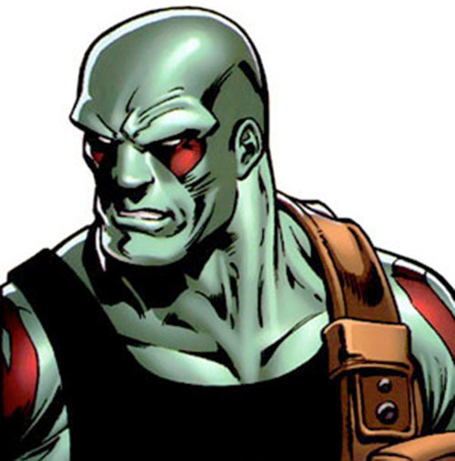 Drax the Destroyer of the Guardians of the Galaxy (Marvel Comics) face closeup