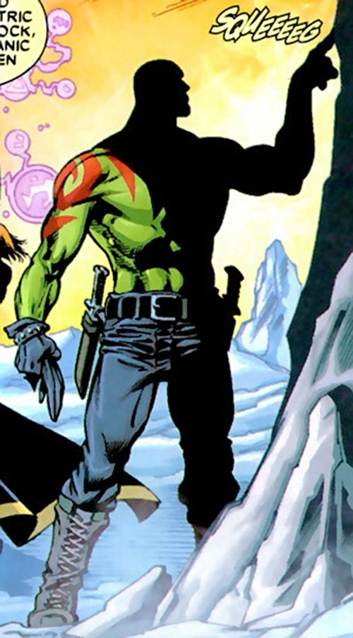 Drax the Destroyer of the Guardians of the Galaxy (Marvel Comics) shadowed