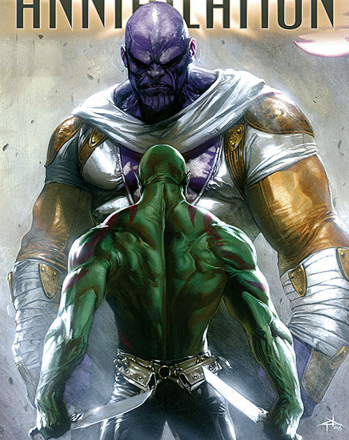 Drax the Destroyer of the Guardians of the Galaxy (Marvel Comics) facing Thanos
