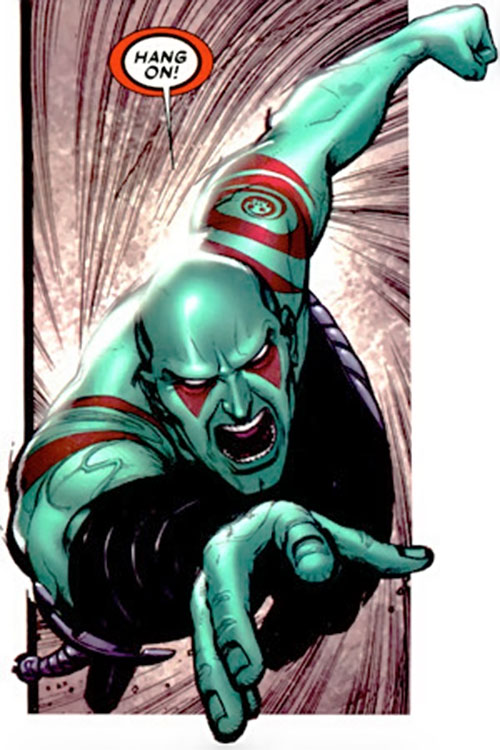 Drax the Destroyer of the Guardians of the Galaxy (Marvel Comics) leaping in