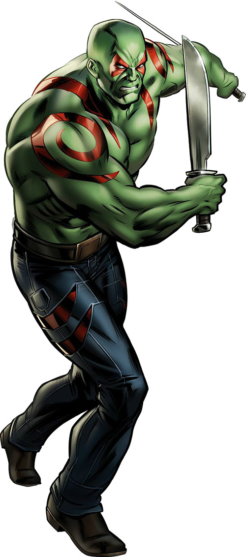 Drax the Destroyer of the Guardians of the Galaxy (Marvel Comics) with machetes