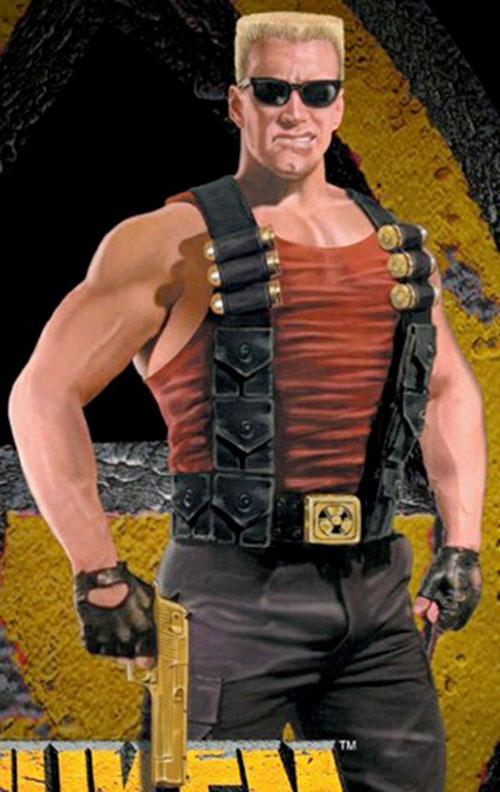 Duke Nukem with a gold-plated pistol