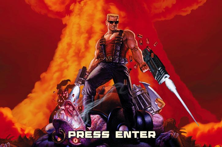 Duke Nukem and an atomic explosion from the Megaton Edition splash screen