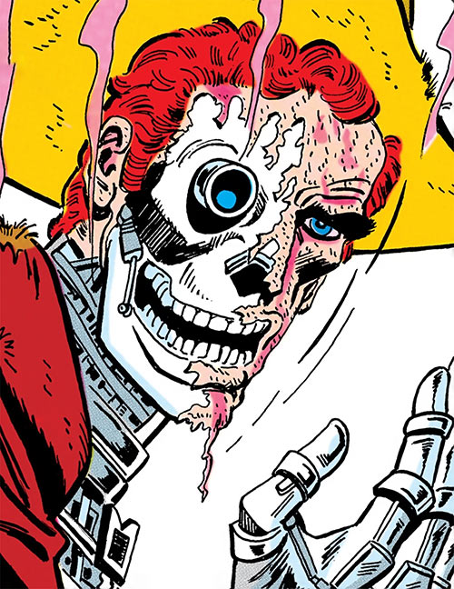 Duke of Oil (Outsiders enemy) (DC Comics) with damaged face revealing a robotic skull