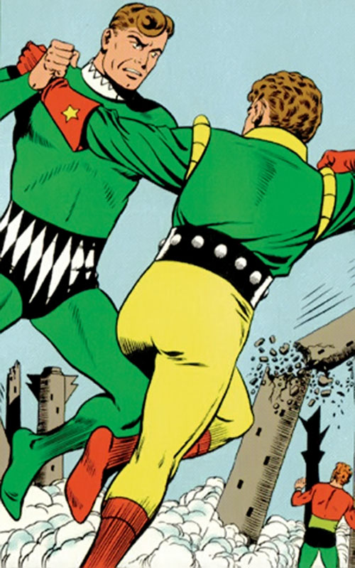 Duplicate Boy (Legion of Super-Heroes character) (DC Comics) fights Ultra-Boy and Colossal Boy