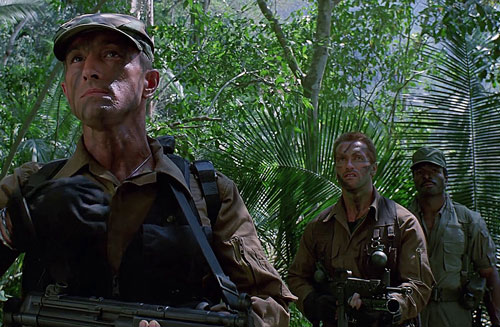 Part of the team in the Predator movie, in the jungle