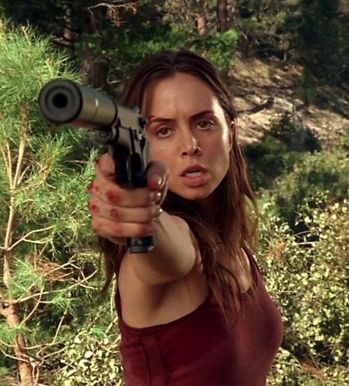 Echo (Eliza Dushku in Dollhouse) as Jenny - silenced pistol