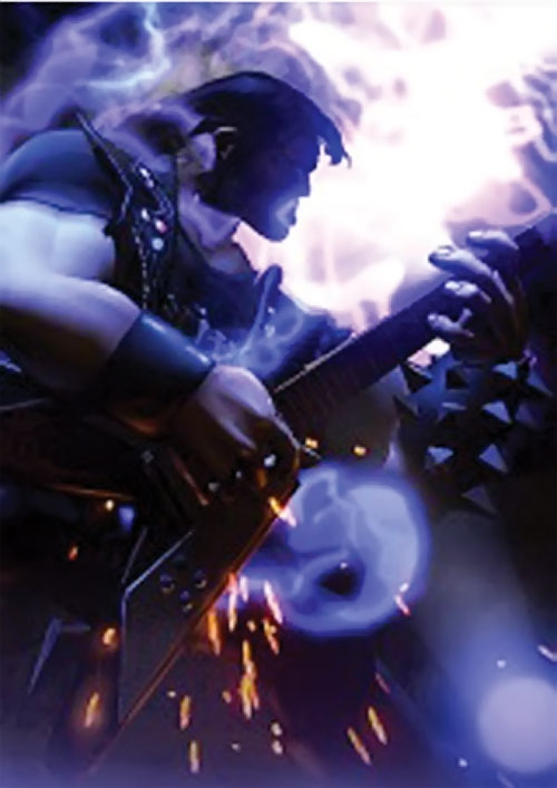 Eddie Riggs (Brutal Legend video game) playing guitar and lightning