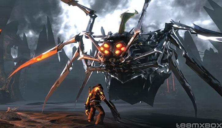 Eddie Riggs faces a giant metallic spider