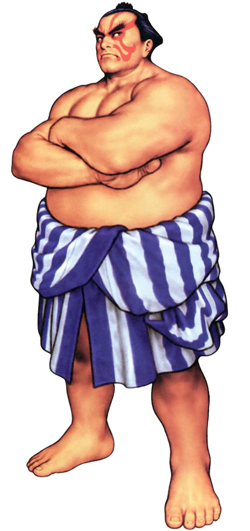 E. Honda from Street Fighter video games with arms crossed
