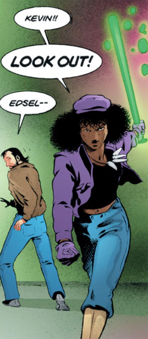Edsel (Matt Wagner's Mage comics) defending Kevin with her bat