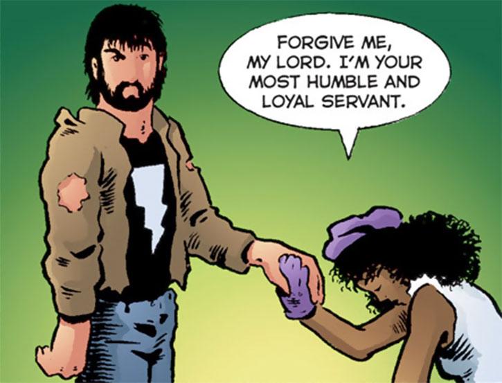 Edsel (Matt Wagner's Mage comics) kneeling before Kevin
