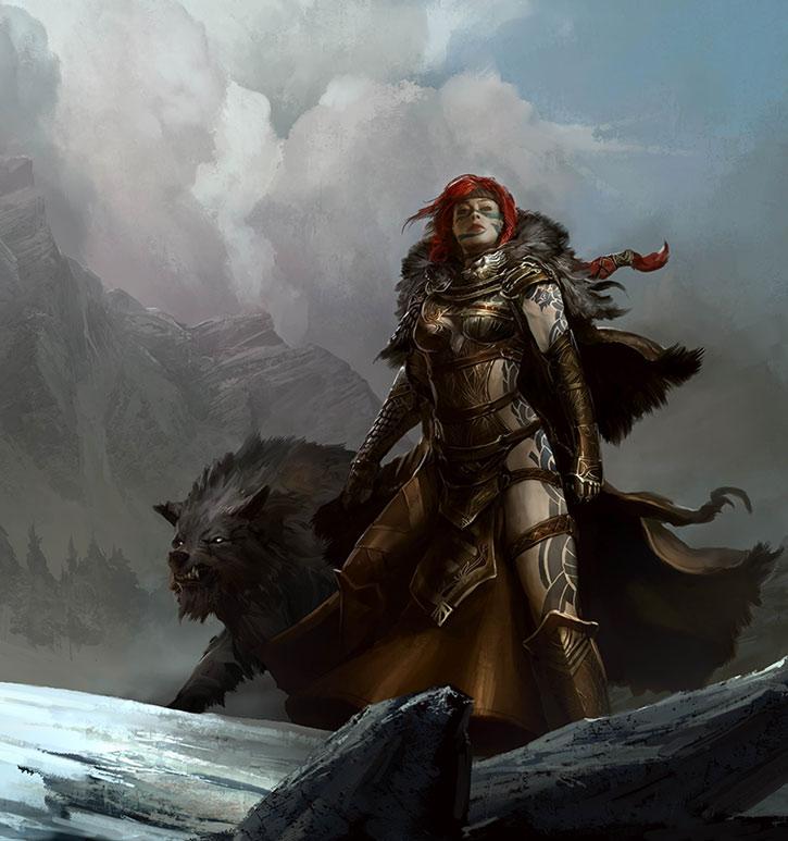 Eir Stegalkin and her wolf Garm
