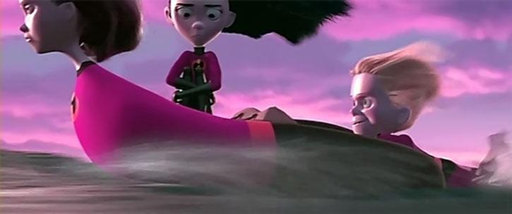 Elastigirl (Helen Parr), Violet and Dash crossing water