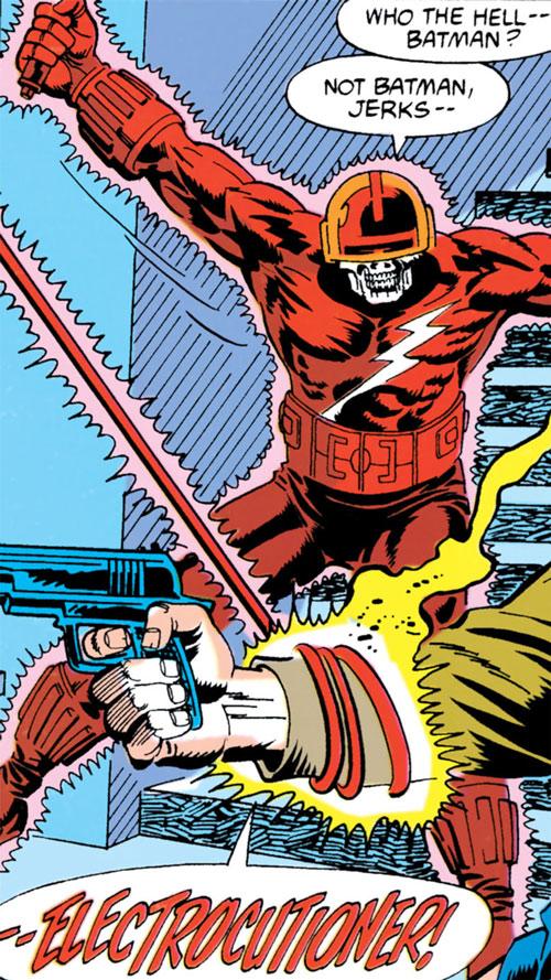 Electrocutioner II (Batman enemy) (DC Comics) using his whip