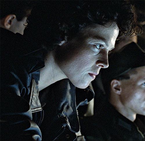 Ellen Ripley (Sigourney Weaver in Alien movies) face closeup in screen glare