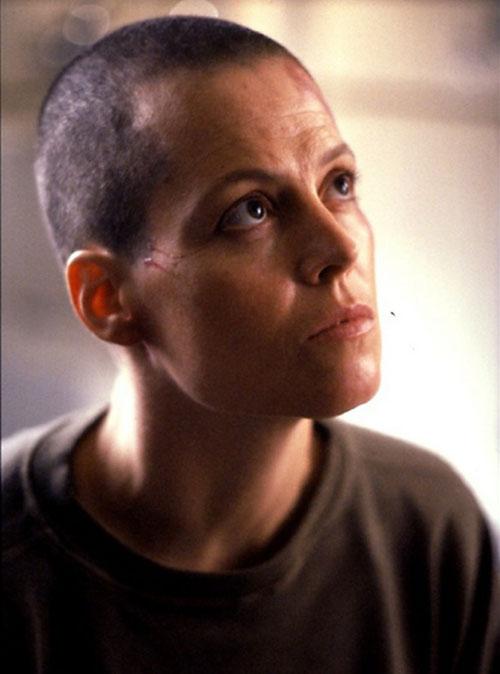 Ellen Ripley (Sigourney Weaver in Alien movies) shaved head portrait