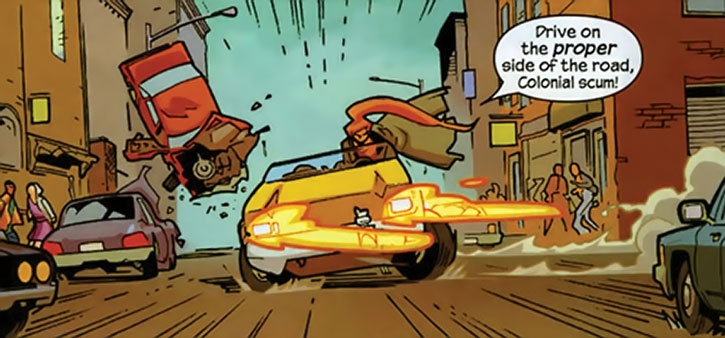 Elsa Bloodstone driving like a maniac