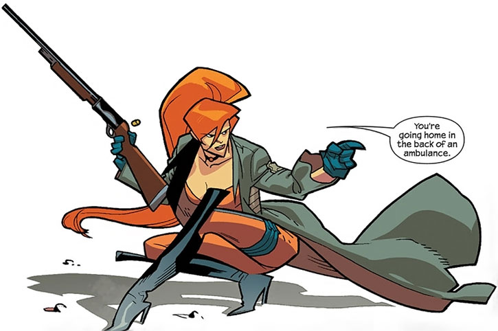 Elsa Bloodstone crouching with a shotgun
