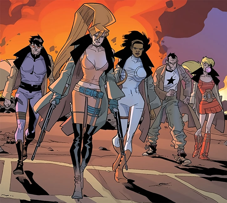 Elsa Bloodstone and Nextwave power-walking