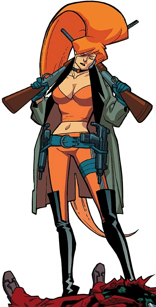 Elsa Bloodstone of Nextwave (Marvel Comics) with paired shotguns and paired Uzis