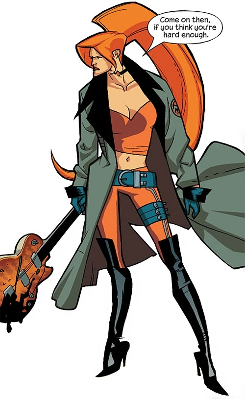 Elsa Bloodstone of Nextwave (Marvel Comics) wielding a guitar as a weapon