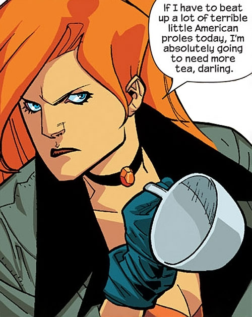 Elsa Bloodstone of Nextwave (Marvel Comics) with an empty cuppa