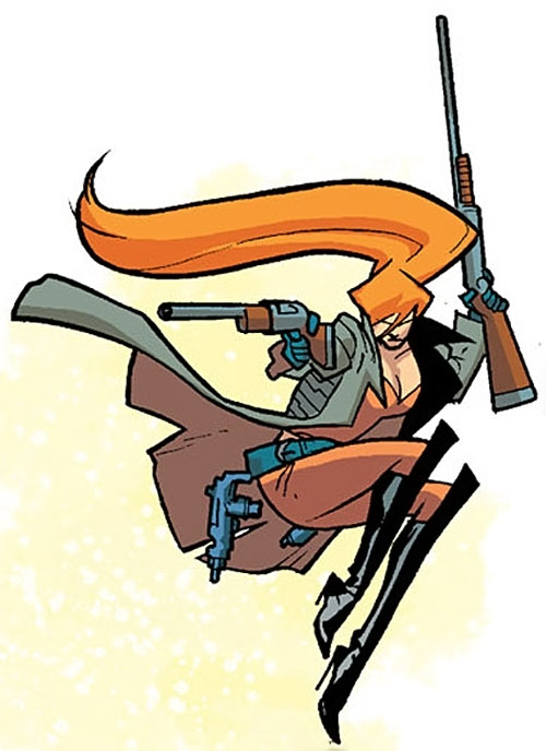 Elsa Bloodstone of Nextwave (Marvel Comics) leaping and wielding 2 shotguns