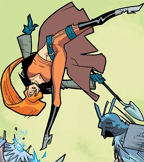 Elsa Bloodstone of Nextwave (Marvel Comics) in mid-air with her shovel
