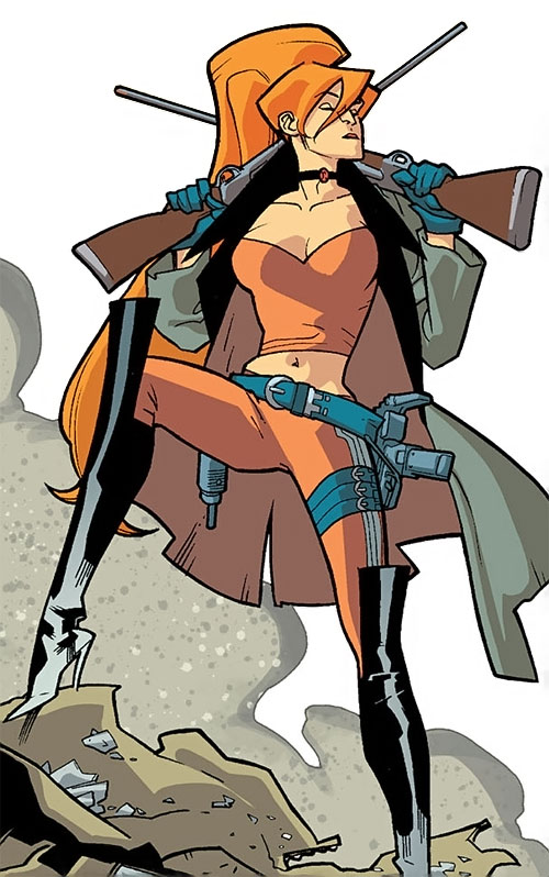 Elsa Bloodstone of Nextwave (Marvel Comics) posing with her guns