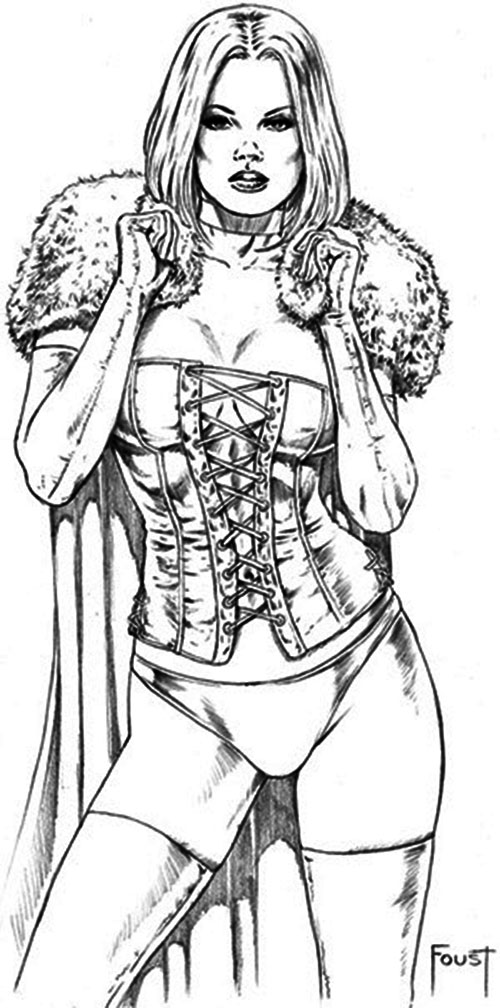 Emma Frost (White Queen) (Marvel Comics) B&W pin-up art by Foust