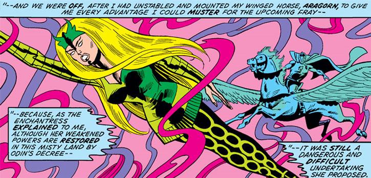 The Enchantress (Amora of Asgard) and the Black Knight (Dane Whitman)