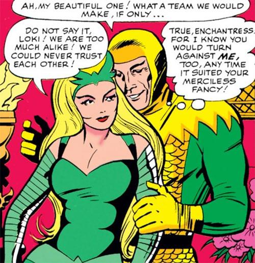 Enchantress (Thor enemy) (Marvel Comics) (Early) and Loki