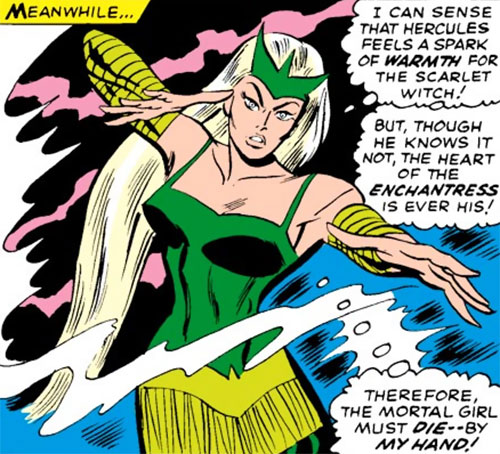 Enchantress (Thor enemy) (Marvel Comics) (Early) casts a spell