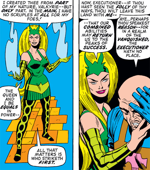 Enchantress (Thor enemy) (Marvel Comics) (Early) picks up a stunned Executioner
