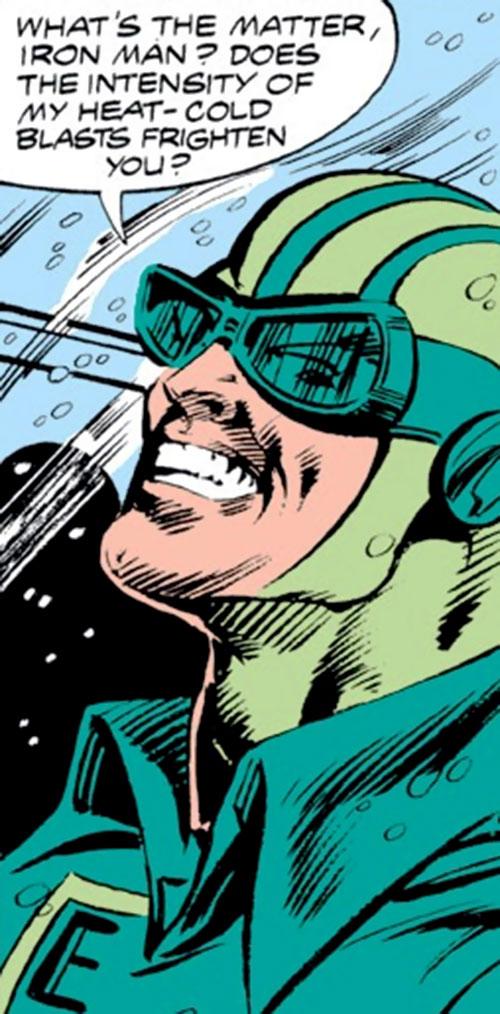 Endotherm (Iron Man enemy) (Marvel Comics) grinning closeup