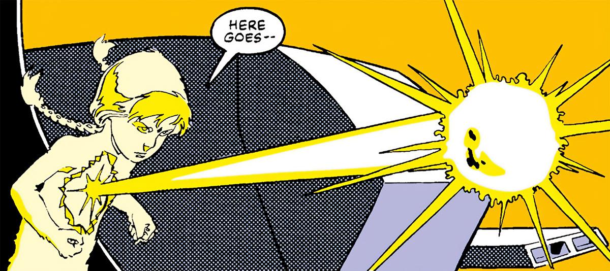 Energizer (Katie Power) shoots an energy projectile