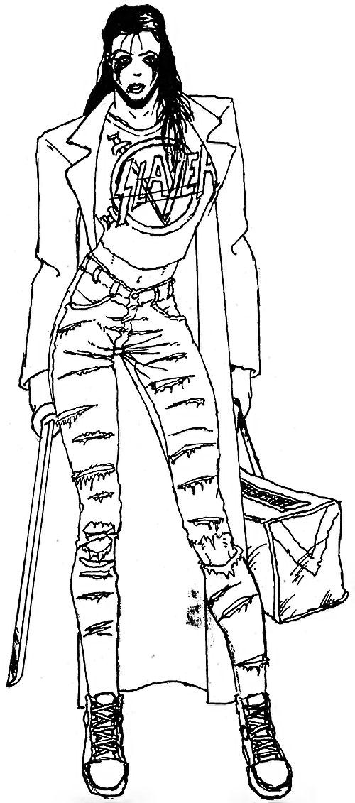 Street punk woman with a katana