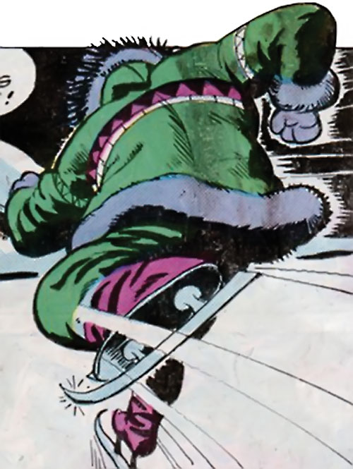 Eskimo karate ice skate killer (Richard Dragon enemy) (DC Comics) skating fast
