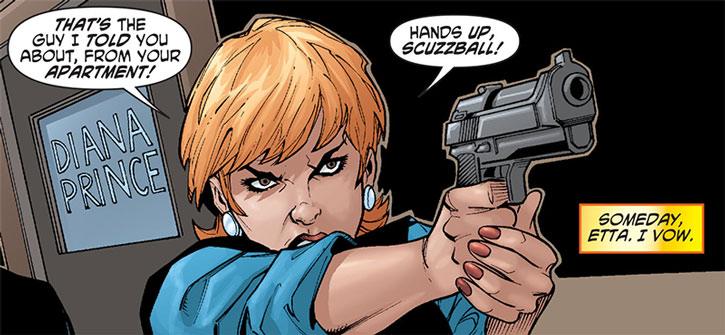 Etta Candy points her pistol