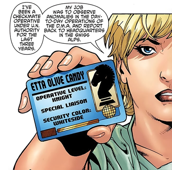 Etta Candy produces her Checkmate ID