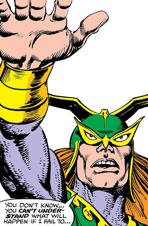 Excaliber (Marvel Comics) (Spider-Woman enemy) strange headgear